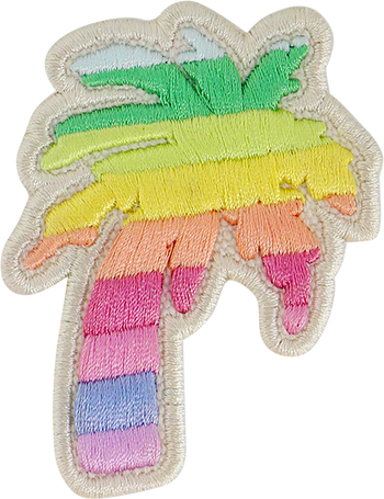 Rainbow Rolled Embroidery Palm Tree Patch