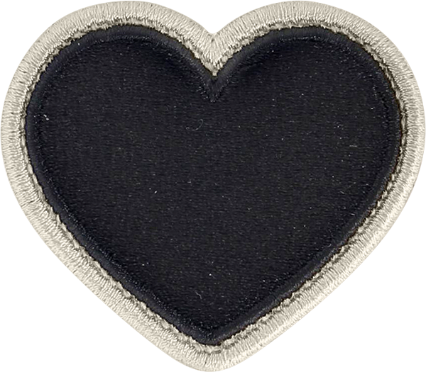 Noir Rolled Embroidery Heart Patch