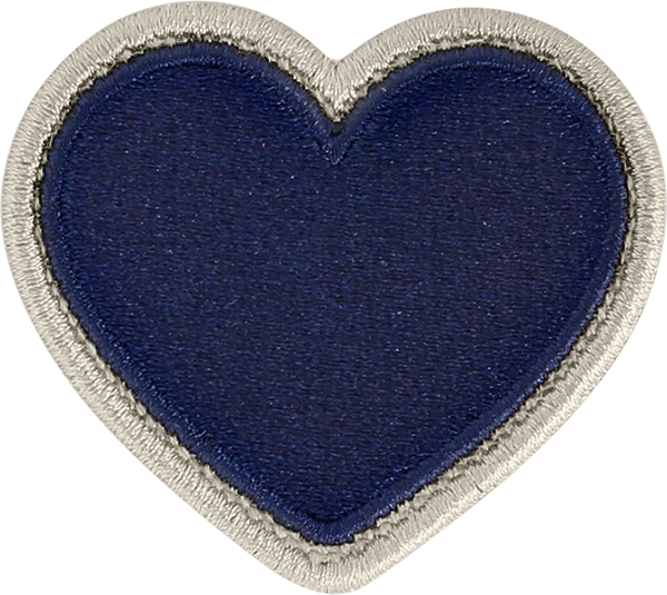 Sapphire Rolled Embroidery Heart Patch