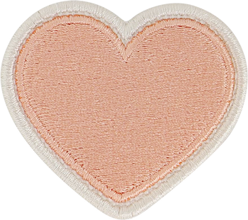 Peach Rolled Embroidery Heart Patch