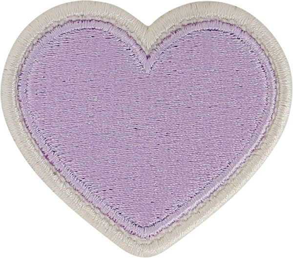 Lilac Rolled Embroidery Heart Patch