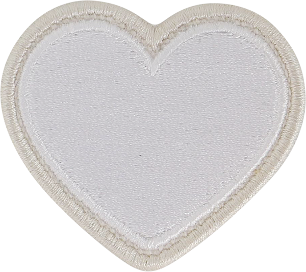 Blanc Rolled Embroidery Heart Patch