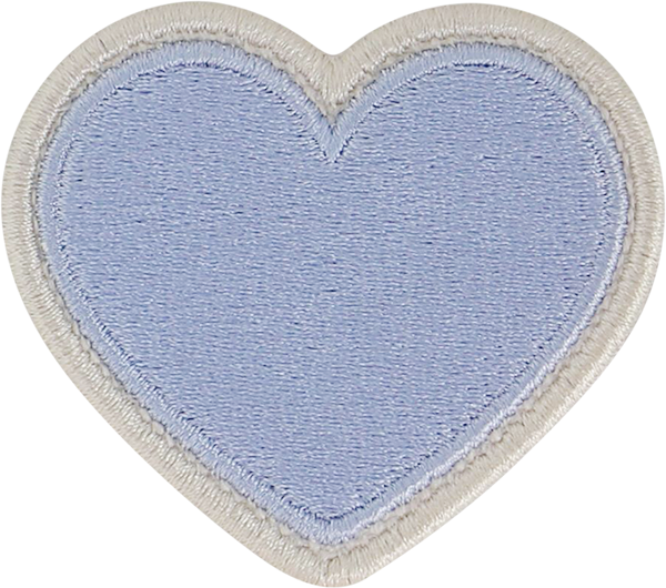Periwinkle Rolled Embroidery Heart Patch