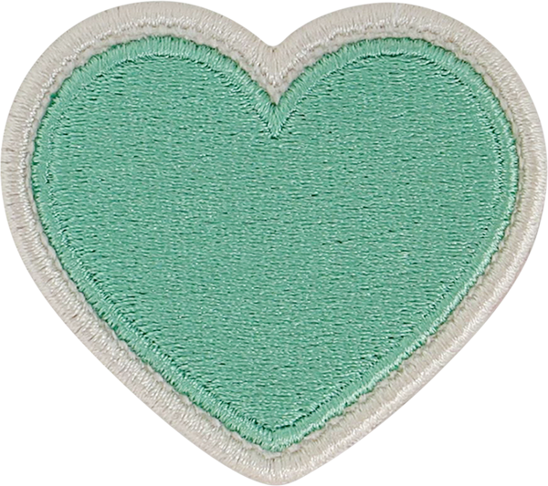 Avocado Rolled Embroidery Heart Patch