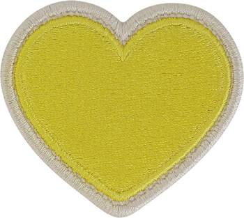 Lemon Rolled Embroidery Heart Patch