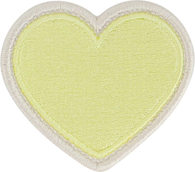 Lime Rolled Embroidery Heart Patch