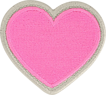 Bubblegum Rolled Embroidery Heart Patch