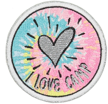 I Love Camp Pastel Tie Dye Sticker Patch