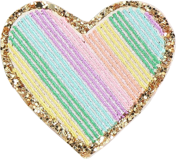 Glitter Rainbow Heart Patch