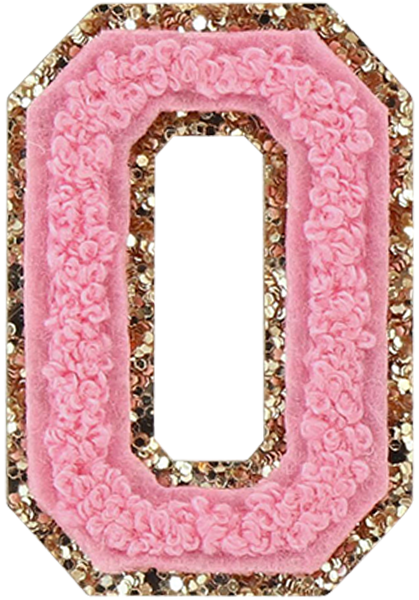Guava Glitter Varsity Letter Patches