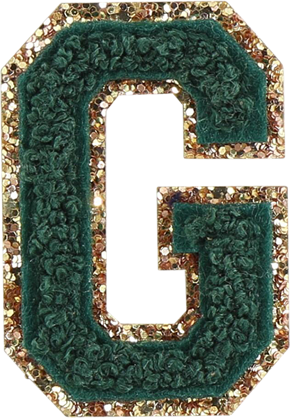 Emerald Glitter Varsity Letter Patches
