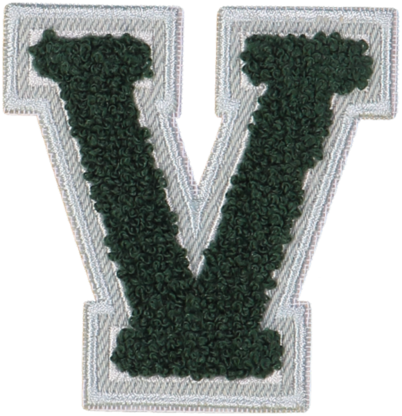 Emerald Denim Varsity Letter Patches