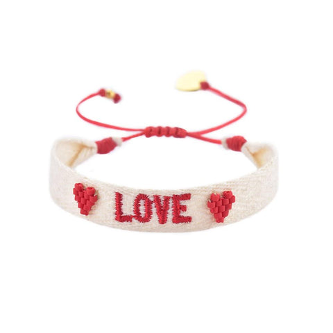 "White Woven Beaded  ""Love"" Bracelet"