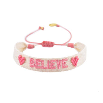 "White Woven Beaded  ""Believe"" Bracelet"