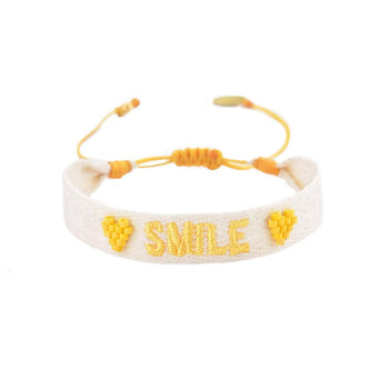 "White Woven Beaded  ""Smile"" Bracelet"