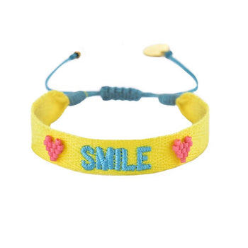"Yellow Woven Beaded  ""Smile"" Bracelet"