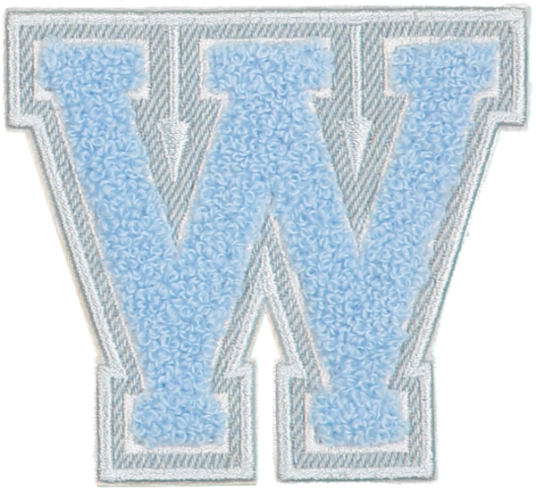 Periwinkle Denim Varsity Letter Patches