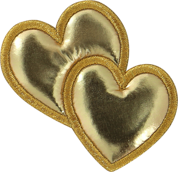 Gold Puffy Hearts