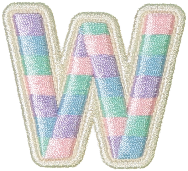 Pastel Rolled Embroidery Letter Patches