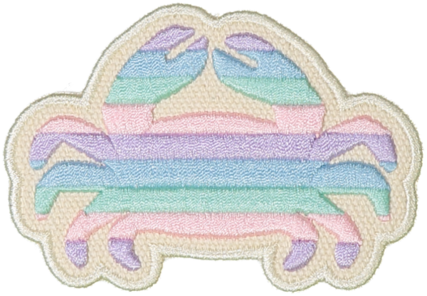 Pastel Rolled Embroidery Crab Sticker Patch