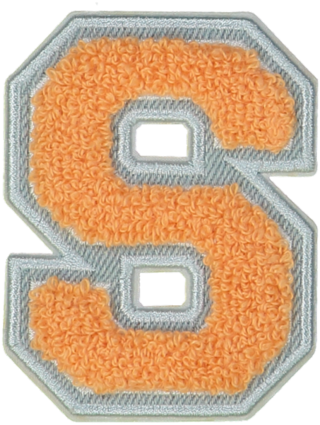 Peach Denim Varsity Letter Patches