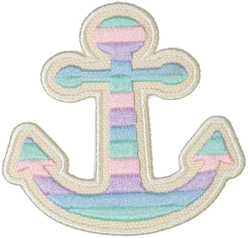Pastel Rolled Embroidery Anchor Sticker Patch
