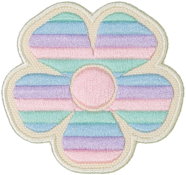 Pastel Rolled Embroidery Flower Sticker Patch