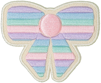 Pastel Rolled Embroidery Bow Sticker Patch