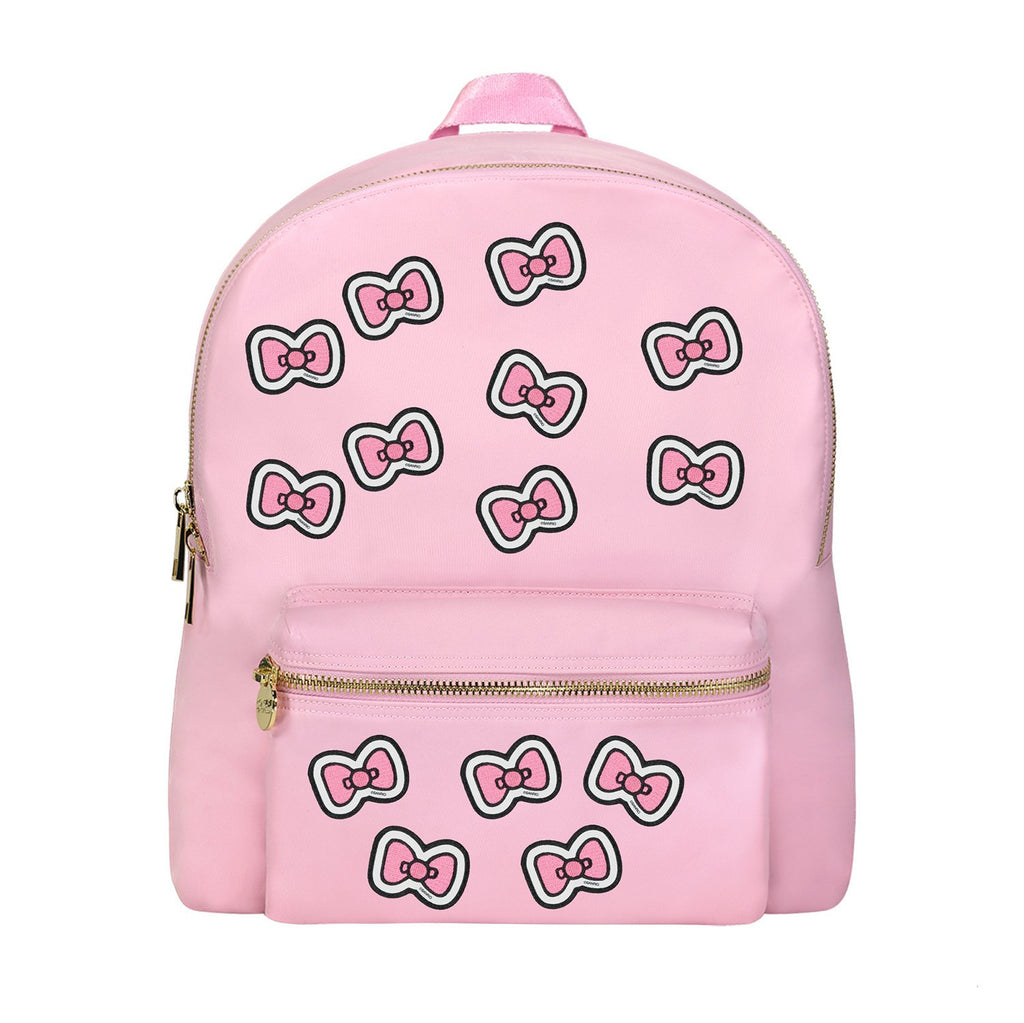 Flamingo Backpack with Hello Kitty Bow Patches