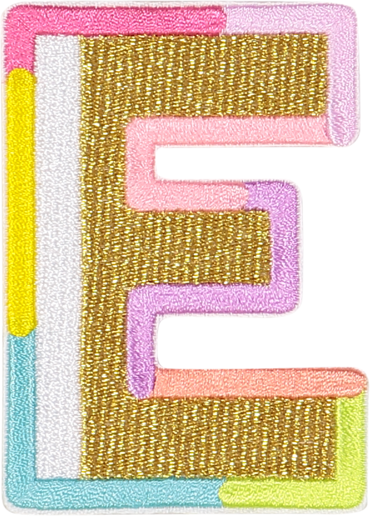 Gold Color Block Letter Patches