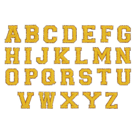 Citrine Glitter Varsity Letter Patches