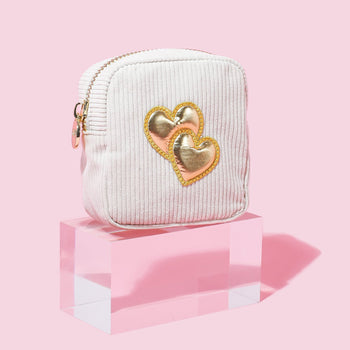 Toasted Marshmallow Corduroy Mini 'Double Heart' Pouch
