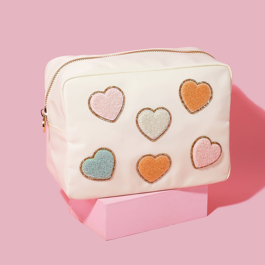 Buttercream Large Pouch with Glitter Heart Patches