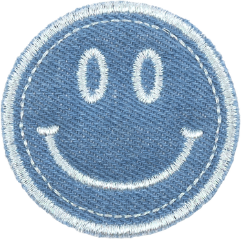 Blue Jean Smiley Face Patch