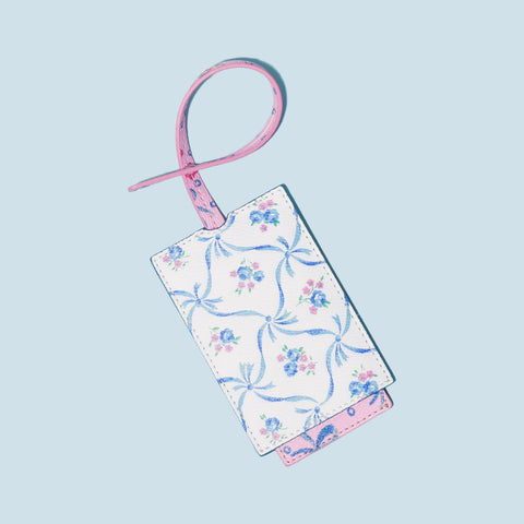 LoveShackFancy x Stoney Clover Lane Blue Ribbon Textured Luggage Tag