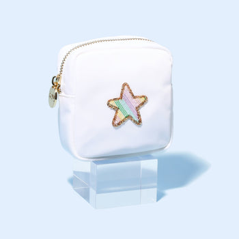 Blanc Mini Pouch with Rainbow Star Patch