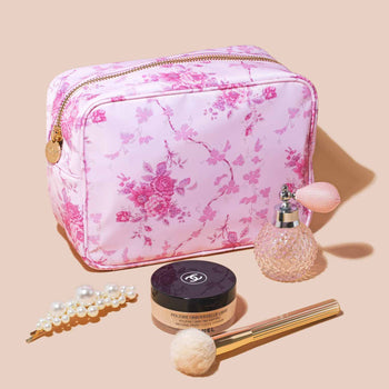 LoveShackFancy x Stoney Clover Lane Pink Flower Bed Large Pouch