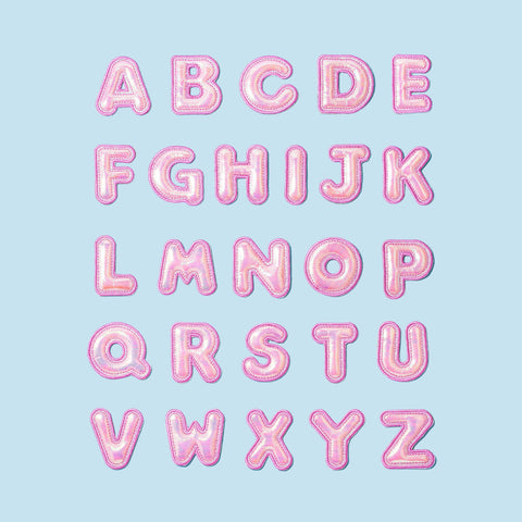Puffy Guava Iridescent Letter Patches
