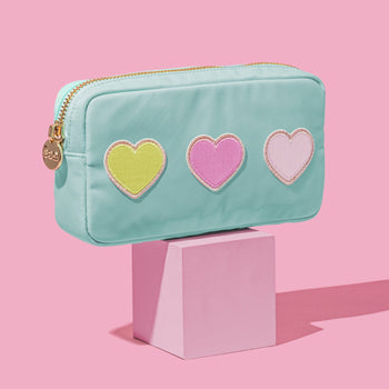 Cotton Candy Small Pouch with Heart Patches