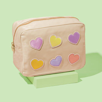 Sand Large Pouch with Heart Patches