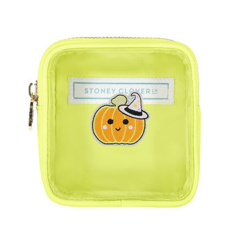 Lime Clear Mini Pouch with Pumpkin Patch