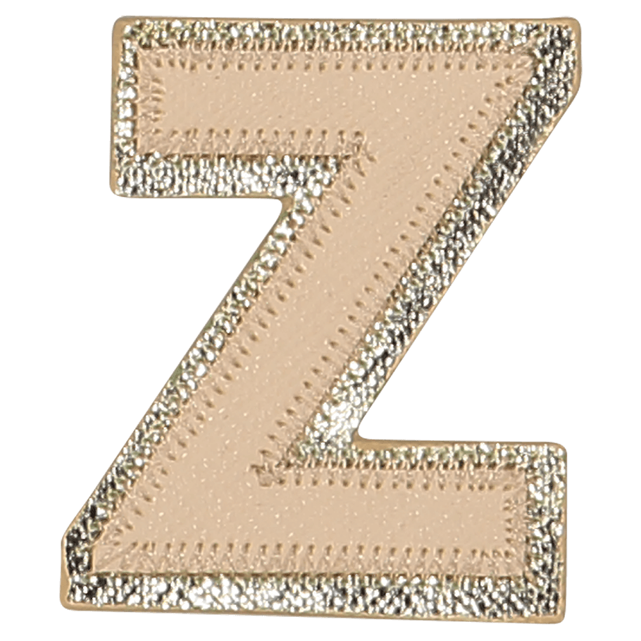 Neutral Metallic Block Letter Patches