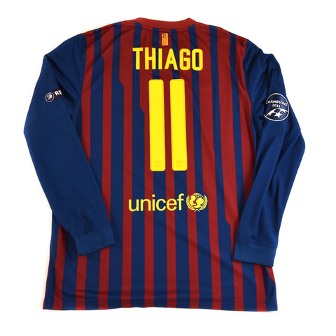 2011-12 BARCELONA L/S HOME SHIRT THIAGO #11 - ADULT L