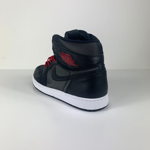 AIR JORDAN 1 RETRO HIGH BLACK SATIN GYM RED - UK SZ10