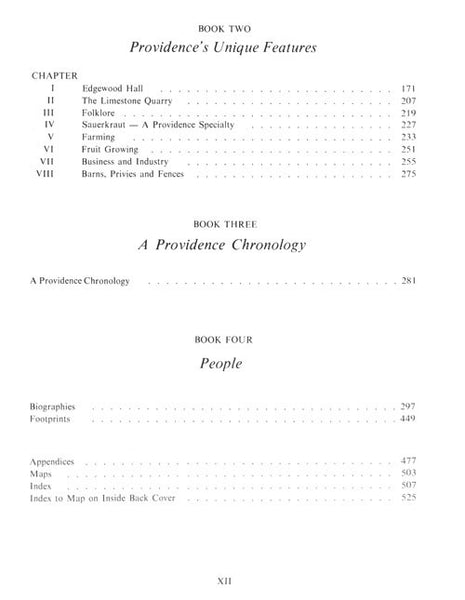 Providence and Her People Table of Contents