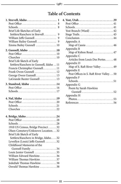 Southern Raft River Valley Table of Contents