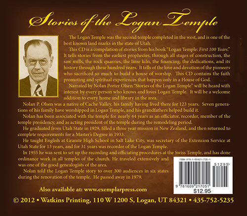 Logan Temple CD. Abridged group of stories from book.