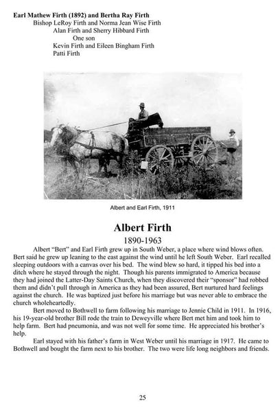 A page from Bothwell, a book about the people of Bothwell Utah.