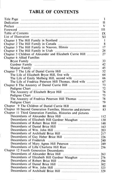 Daniel Currie Hill Book Table of Contents