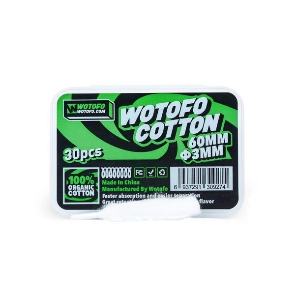 Wotofo Agleted Organic Cotton 3mm (30pcs) - My Vpro